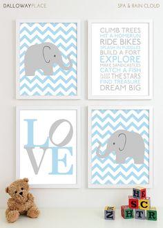 Baby Boy Nursery Art Chevron Elephant Nursery Prints, Kids Wall Art Baby Boys Room, Baby Nursery Decor Playroom Rules Subway Art 11x14 via Etsy