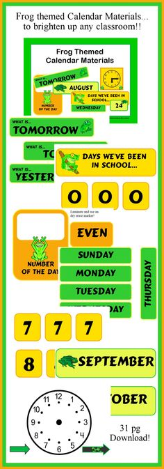 Frog themed Calendar Materials! (31 pg download) These frog themed calendar materials will brighten up your #homeschool room! Download Club members can download @ http://www.christianhomeschoolhub.spruz.com/organization.htm. Not a download club member? Purchase @ http://www.teacherspayteachers.com/Product/Frog-Themed-Calendar-Materials-for-Primary-Classrooms-267263