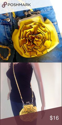 🚨FINAL🚨Yellow Flower Boutique Crossbody Bag Brand new, boutique item!  New with tags! NWT. Dress up or wear casual. Kiss closure, black trim, faux leather, interior slip pocket and an interior zip pocket. Silver hardware. 7 X 7 X 3. Two straps - one long, one short. 🔹Please ask all your questions before you purchase! 🔹Sorry, no trades. 🔹Please, no lowball offers. Boutique Bags Crossbody Bags