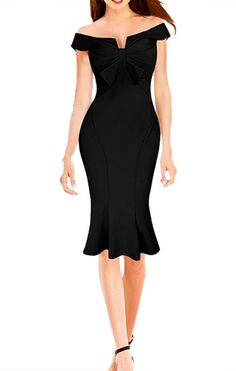 LECHEERS Women Bodycon Elegant Bowknot Streth Cocktail Celebrity Dress *** Wow! I love this. Check it out now! : black dress