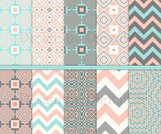 Geometric digital paper pack Tribal digital paper 12x12 scrapbook paper Craft paper peach mint grey Commercial use