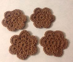 Hand Made Flower Crochet Doilies Brown ,Coasters, Set Of 4  new