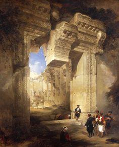 David Roberts - L'entrée du Temple à Baalbek
