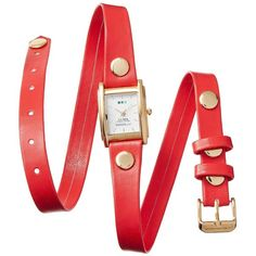 La Mer Triple Wrap Watch - Coral ($40) ❤ liked on Polyvore featuring jewelry, watches, bracelets, coral jewellery, wrap watch, la mer jewelry, analog wrist watch and analog watches