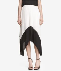 High Waist Asymmetrical Pleated Skirt | Express