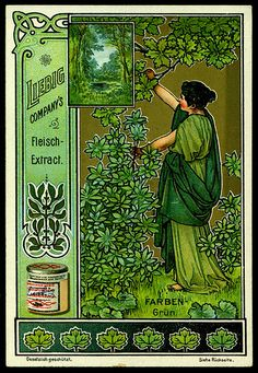 1900. Colours (Green) trading card issued by Liebig Extract of Beef Company. S618.