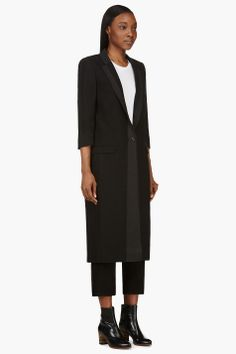 Nicolas Andreas Taralis Black Tacking Trim Long Wool Coat for women | SSENSE