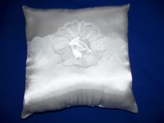 """White Wedding  Satin Ring Bearer Pillow  With White Venise Lace And White  Rosette (9"""" X 9"""") by SewUniqueShop on Etsy"""