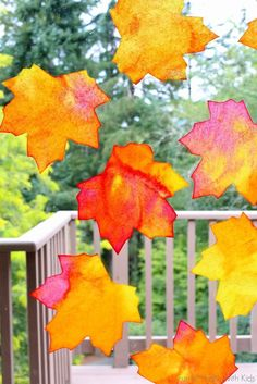 Fall Window Art: Leaf Suncatchers + Free Printable Template. These look stunning as they catch the light through the window. Lovely fall / autumn activity.