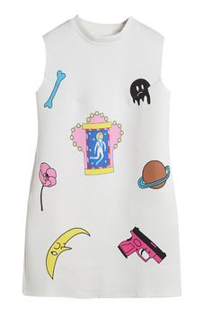 White Stand Collar Sleeveless Cartoon Print Dress