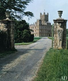 """A pair of canephorae decorate the gateposts of Highclere Castle … alluding to the """"dark splendor of treasures within"""", I love that line from the Architectural Digest feature."""