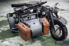 Monster of war! The most famous sidecar in the world! The gloomy Teutonic spirit, embodied in iron. Antique Motorcycles, Cool Motorcycles, Army Vehicles, Armored Vehicles, Three Wheel Bicycle, Ural Motorcycle, Jeep Camping, Harley Davidson, Classy Cars