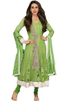 Shop Now - http://valehri.com/salwar-kameez/931-green-karishma-kapoor-unstitched-salwar-kameez-with-dupatta.html