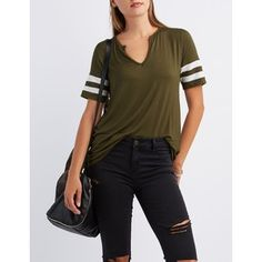 Charlotte Russe Split Neck Football Tee