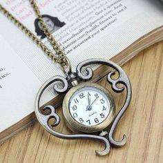 Antique-Bronze-Steampunk-Women-Girls-Pocket-Watch-Quartz-Clock-Pendant-Necklace