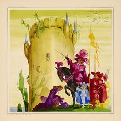 Atelier Jean Adrien MERCIER Les vieilles chansons francaises, 1945-1950 La Tour prends garde Aquarelle. 24,5 x 24, 5 cm Signé en haut à droite Jean A. MERCIER - Millon - 22/05/2006