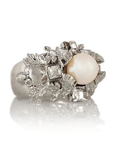 Alexander McQueen Silver-Plated, Swarovski Crystal and Faux Pearl Ring Fall 2013 Clothing Trends
