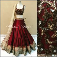 Red and bronze lehenga choli