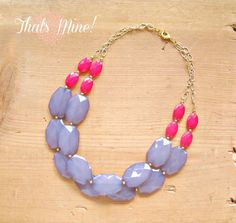 Hot pink and Gray colorblock Necklace, pink and gray statement necklace