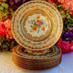 8 Gorgeous Vintage Gold Gild Porcelain Plates ~ Floral Roses ~ Gold Encrusted