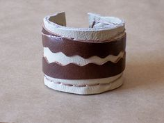 Wide Rustic Leather Cuff Bracelet in Ivory & Brown by beadbooty, $25.00 #leather #jewelry #fashion #style #rustic