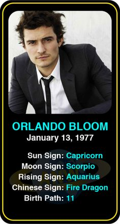 Celeb #Capricorn birthdays: Orlando Bloom's astrology info! Sign up here to see more: https://www.astroconnects.com/galleries/celeb-birthday-gallery/capricorn?start=120 #astrology #horoscope #zodiac #birthchart #natalchart #orlandobloom
