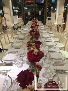 Private event for Mulberry Toronto. Deep crimson flowers with monochromatic red- By Event Design Wedding Decorations, Table Decorations, Event Company, Event Management, Bat Mitzvah, Event Decor, Corporate Events, Event Design, Toronto