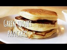 Greek Yogurt Pancakes ~ I made this morning using the Yoplait Greek Peach Yogurt ~ OMG so easy and so delicious! Once the pancakes were done, I used a butter spray, and lite maple syrup. I cannot wait to try other yogurt fruit flavors! Pancake Recipe With Yogurt, Greek Yogurt Pancakes, Greek Yogurt Recipes, Tasty Pancakes, Protein Pancakes, Whey Protein, Low Carb Recipes, Cooking Recipes, Cooking Videos