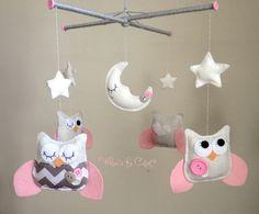 Baby Mobile - Pink and Grey Chevron Owl Mobile - Customizable Mobile - for Baby Girl - Crib Mobile - Nursery Mobile
