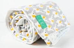 Organic Fanfare Flannel Grey Elephant Minky Dot Blanket