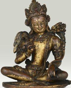 13th century circa, Nepal, bodhisattva Vajrapani, gilt copper inlaid with stones, private collection