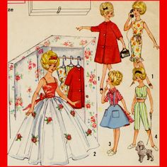 Vintage 1950's 1960's Doll Clothes Sewing Pattern Evening Gown Dress Coat Blouse Skirt Pants - Barbie goes retro! These look like they would give Barbie a very cool 1950's wardrobe.