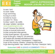 Useful Expressions - Indoor leisure activities