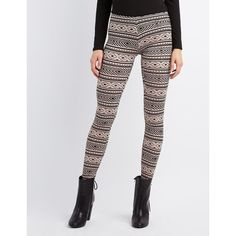 Charlotte Russe Printed Stretch Cotton Leggings (6.59 CAD) ❤ liked on Polyvore featuring pants, leggings, etherea, thin leggings, legging pants, stretch waist pants, elastic waist pants and tribal print pants