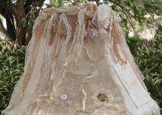 Shabby Farmhouse Chic Linen Crochet Lace Lamp by Victoriantiques