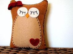 Plush owl pillow named Amy - Owl decor for nursery - Owl baby shower decorations - Felt owl pillow with heart patch