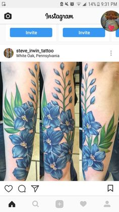 10d9db5fb23c2 Blue Flowers Tattoo | Tattoos | Blue flower tattoos, Flower tattoos ...