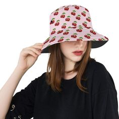 0825238befdb0 retro pink cherries All Over Print Bucket Hat