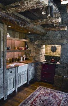 080 Small Log Cabin Homes Ideas Primitive Country Homes, Rustic Country Kitchens, Country Decor, Primitive Bedroom, Bedroom Country, Primitive Antiques, Country Style, Rustic Kitchen Cabinets, Rustic Kitchen Design