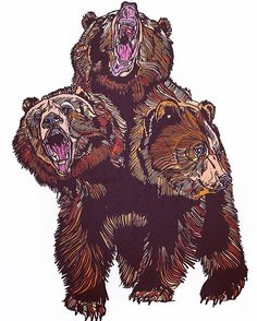 3 headed bear piece - by Luke Dixon http://luke-dixon-artist.tumblr.com/post/149333368539 #bear #illustration #thebearhugco #lukedixon