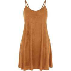 Camel Suedette Strappy Swing Dress ($7.92) ❤ liked on Polyvore featuring dresses, vestidos, short dresses, short strapless dresses, tent dress, trapeze dress, suede dress and strapless dresses