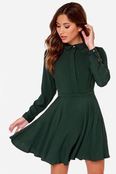 Rhythm Deschanel Dress - Forest Green Dress - Shirt Dress - $79.00