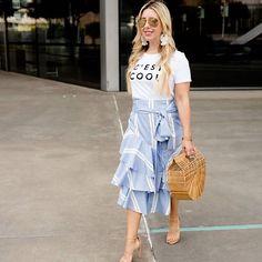Frill Skirts, Ruffle Skirt, Ruffles, Midi Skirt, Printed Tees, All Fashion, Latest Trends, Layers, Style Inspiration