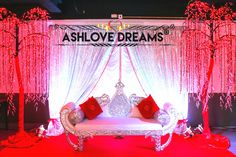 Romantic wedding stage Wedding Stage, Toddler Bed, Reception, Romantic, Birthday, Party, Dreams, Home Decor, Child Bed