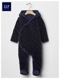 Quilted velour footed one-piece