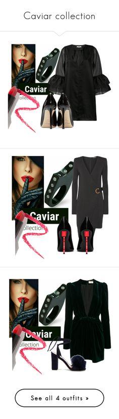 Caviar collection by sofiacalo on Polyvore featuring polyvore fashion style Ganni Jimmy Choo Lapcos clothing Balmain Yves Saint Laurent Loeffler Randall Pierre Cardin Walter De Silva