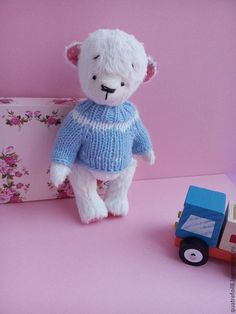 Мишки Тедди ручной работы. Ярмарка Мастеров - ручная работа. Купить Teddybear Мишка Тедди Белый медвежонок Тедди в свитере. Handmade.