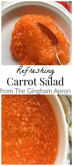 Refreshing Carrot Salad with crushed pineapple and orange jello. A perfect side dish for Easter or any meal! Jello Desserts, Jello Recipes, Salad Recipes, Health Desserts, Brunch Recipes, Dessert Recipes, Orange Jello Salads, Orange Salad, Salads