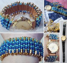 BEADED SAFETY PIN WATCHBAND