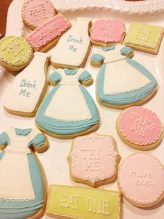 Alice in Wonderland Inspired Cookies- 1 Dozen Frame and Milk Jug Cookie Favor, Baby Shower, Birthday Cookies
